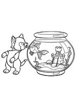 Раскраска - Пиноккио - Фигаро и Клео
