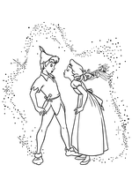 Раскраска - Питер Пэн - Венди хочет поцеловать Питера Пэна