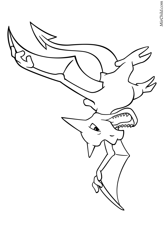 Раскраска - Покемон - 142 - Аэродактиль | MirChild
