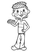 Раскраска Дядя Фёдор с бутербродом