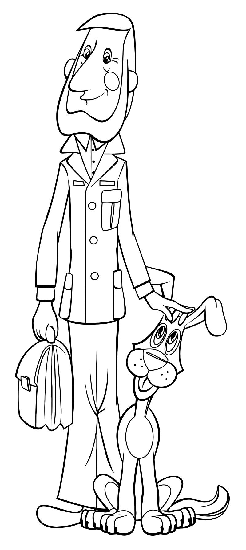 Картинка дяди федора из простоквашино раскраска
