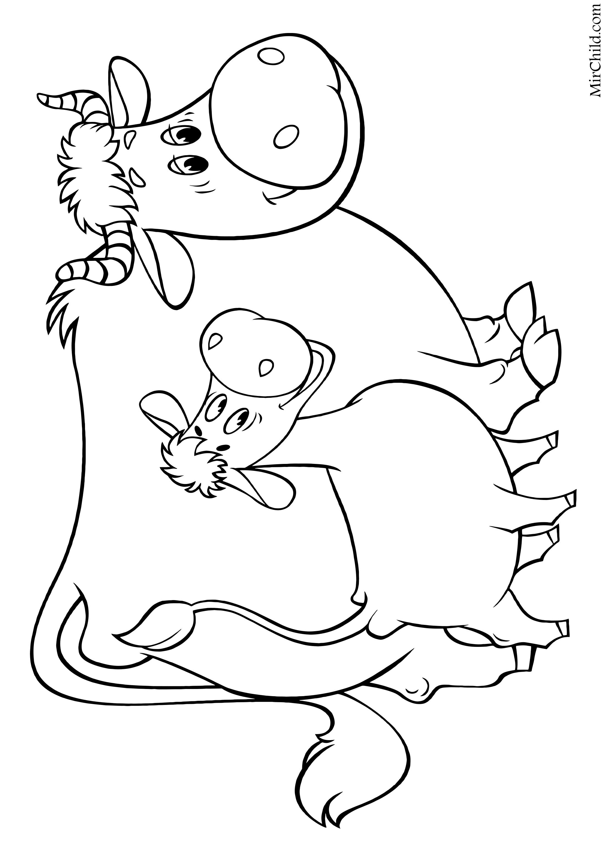 Раскраска - Простоквашино - Корова Мурка и телёнок Гаврюша ...