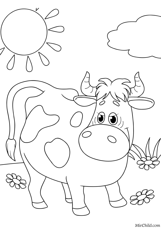 Раскраска - Простоквашино - Корова Мурка | MirChild