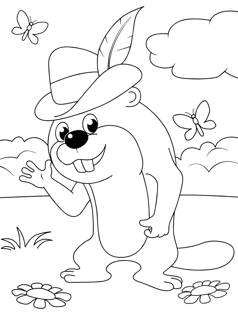 Раскраска - Простоквашино - Бобр, спасший Шарика из речки