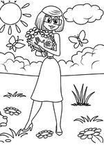 Раскраска - Простоквашино - Мама Дяди Фёдора в Простоквашино