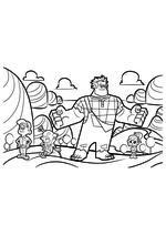 Раскраска - Ральф - Мастер Феликс, Король Карамель, Ральф и Ванилопа