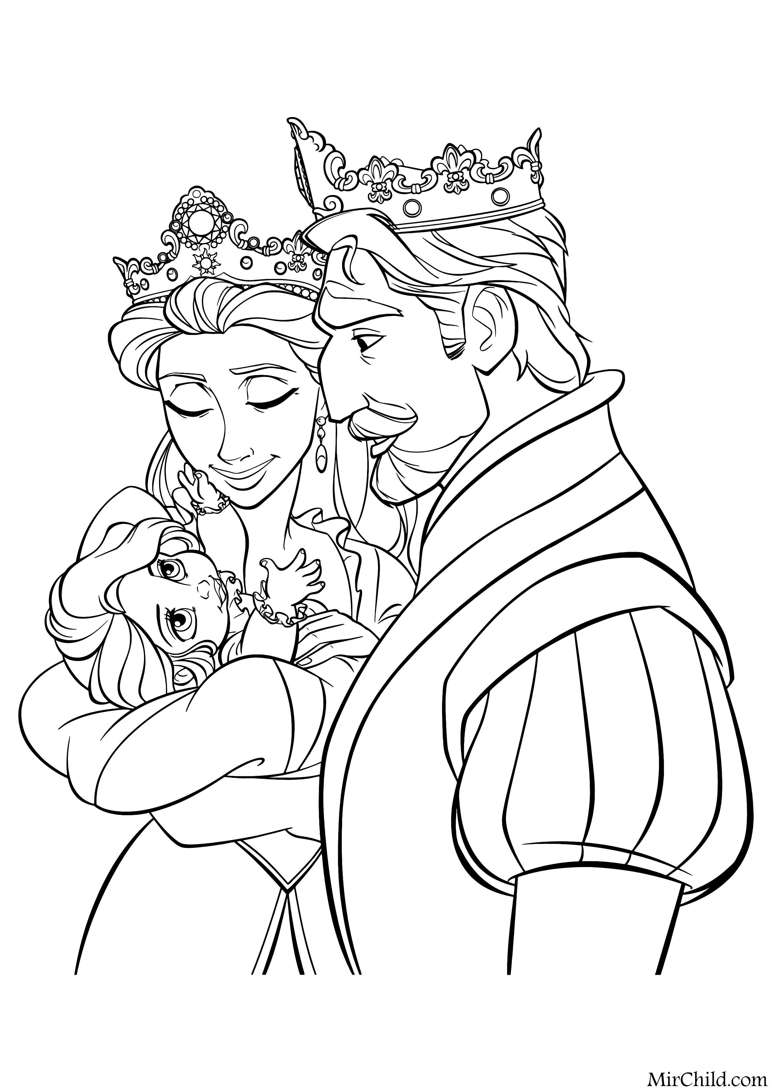 Раскраска - Рапунцель: Запутанная история - Король и ...