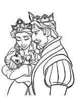 Раскраска - Рапунцель: Запутанная история - Король и Королева с маленькой Рапунцель