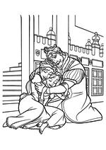 Раскраска - Рапунцель: Запутанная история - Король и Королева обнимают Рапунцель