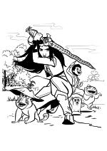 Раскраска - Райя и последний дракон - Райя с командой
