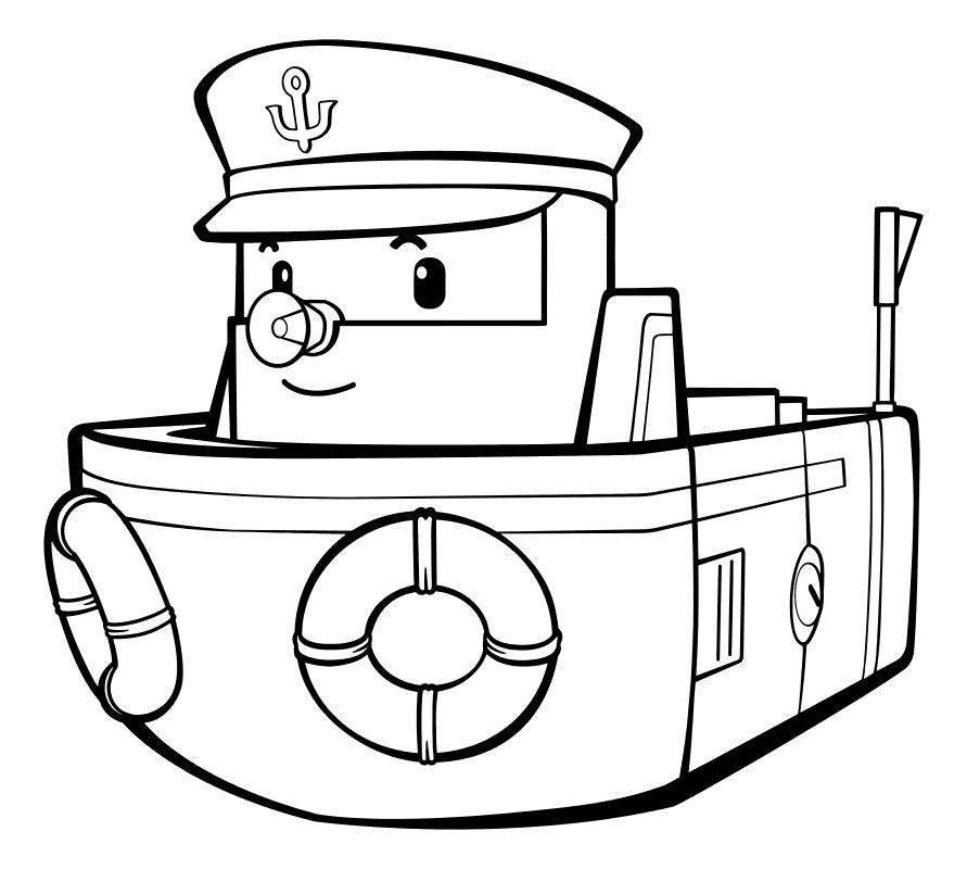 раскраска робокар поли почтовый корабль марин Mirchild