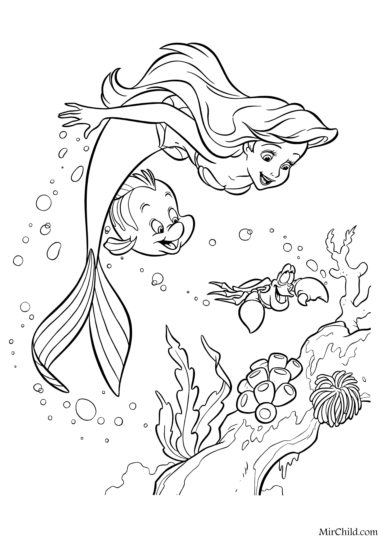 раскраска русалочка ариэль флаундер и себастьян Mirchild