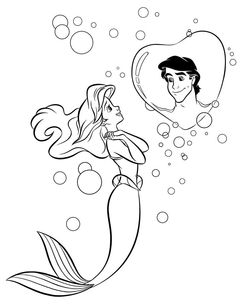 Раскраска - Русалочка - Ариэль мечтает о принце Эрике ...