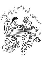 Раскраска - Русалочка - Эрик и Ариэль катаются на лодке