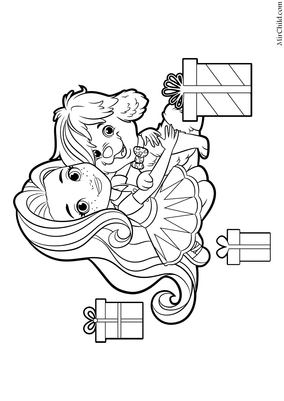 Раскраска - Санни Дэй - Санни и Дудл с подарками | MirChild