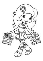 Раскраска - Шарлотта Земляничка: Ягодные приключения - Цветочек Апельсинка с сумками