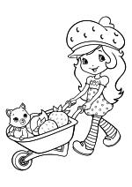 Раскраска - Шарлотта Земляничка: Ягодные приключения - Шарлотта везёт котёнка Булочку