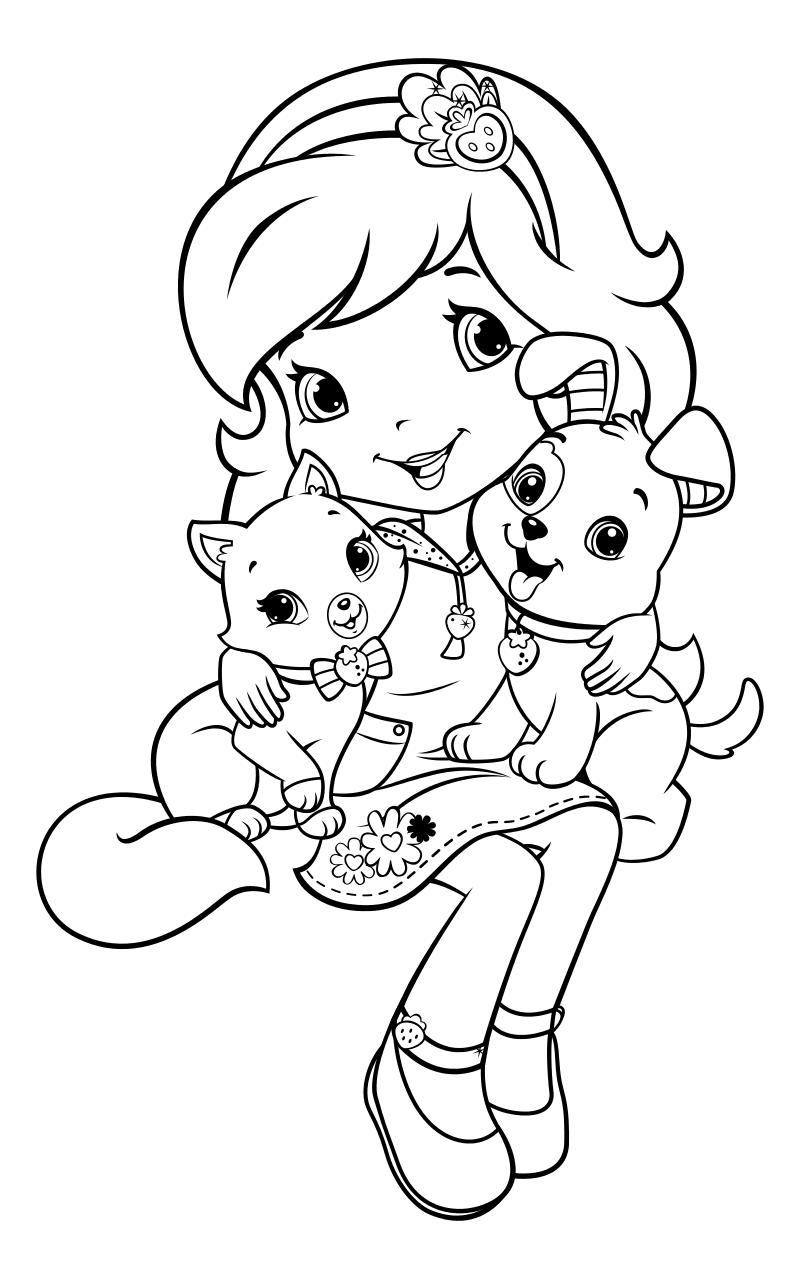 Картинки девочка с собакой раскраска
