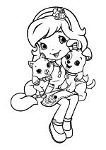 Раскраска - Шарлотта Земляничка: Ягодные приключения - Булочка, Шарлотта Земляничка и Пирожок