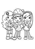 Раскраска - Шарлотта Земляничка: Ягодные приключения - Цветочек Апельсинка, Шарлотта Земляничка и Малинка Торт