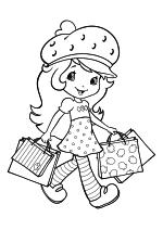 Раскраска - Шарлотта Земляничка: Ягодные приключения - Шарлотта Земляничка с сумками