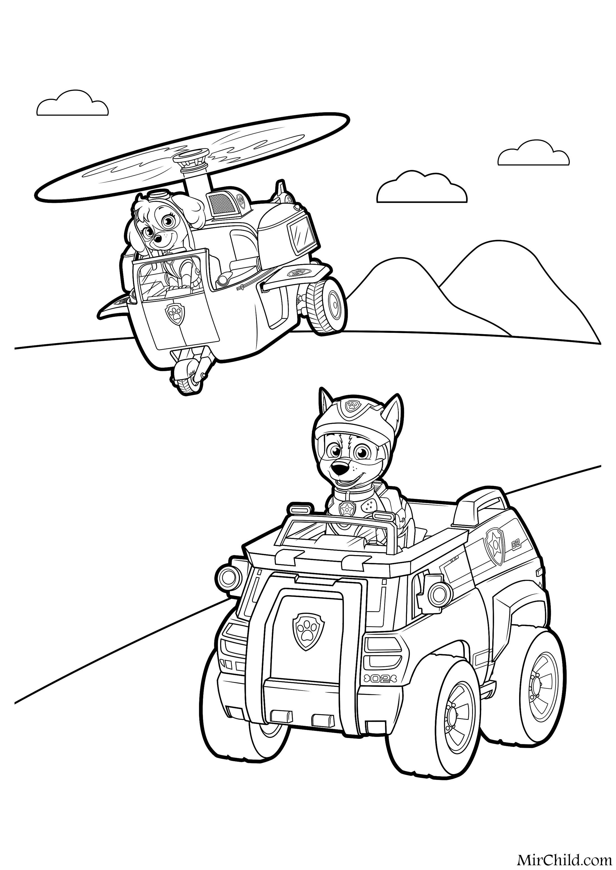 Раскраска - Щенячий патруль - Скай и Чейз   MirChild