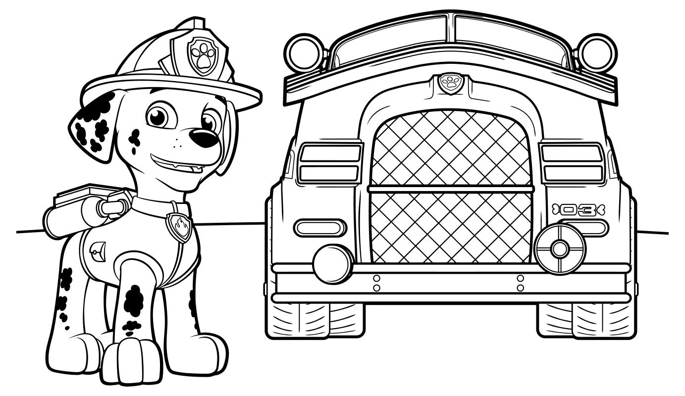 Раскраска - Щенячий патруль - Маршал и пожарный фургон ...