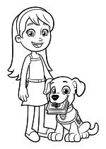 Раскраска - Щенячий патруль - Кейти и щенок-ассистент