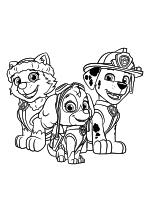 Раскраска - Щенячий патруль - Эверест, Скай и Маршал