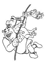 Раскраска - Шрэк - Шрэк, Осёл и Кот на верёвке