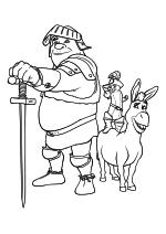 Раскраска - Шрэк - Шрэк с мечом, Осёл и Кот