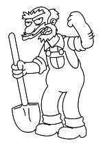 Раскраска - Симпсоны - Садовник Вилли
