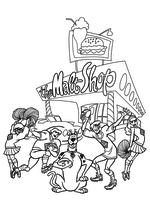 Раскраска - Скуби-Ду - Велма, Фред, Скуби, Шэгги, Дафна и Американский футбол