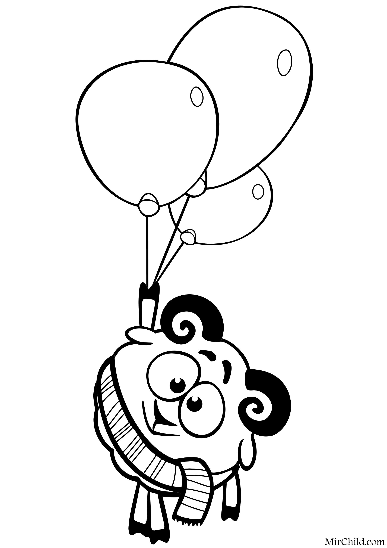 Раскраска - Смешарики - Бараш с воздушными шарами | MirChild