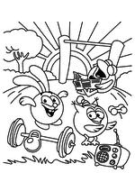 Раскраска - Смешарики - Крош, Совунья и Кар-Карыч делают зарядку