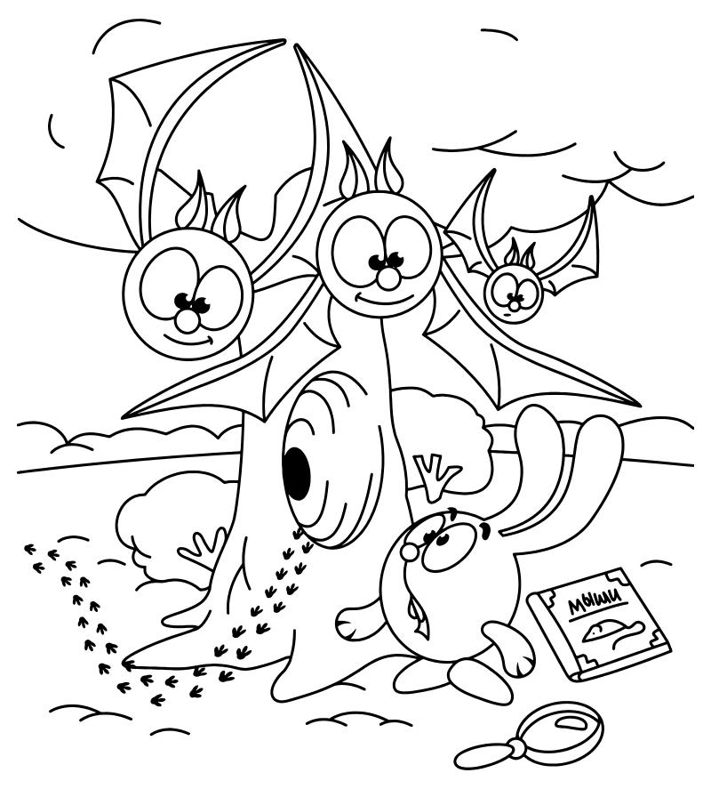 Раскраска - Смешарики - Крош и летучие мыши | MirChild