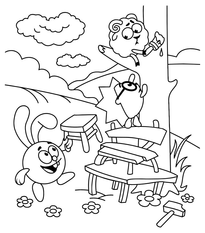 Раскраска - Смешарики - Крош, Ёжик и Бараш | MirChild