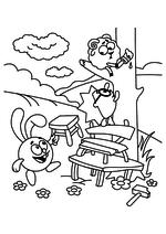 Раскраска - Смешарики - Крош, Ёжик и Бараш
