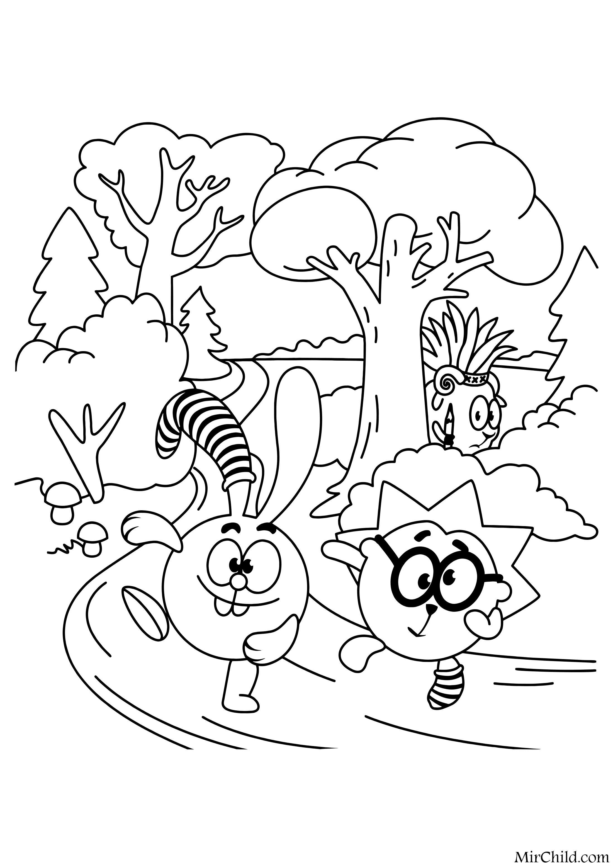 Раскраска - Смешарики - Крош и Ёжик на пробежке | MirChild