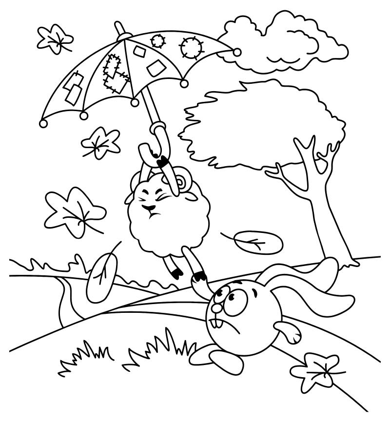 Раскраска - Смешарики - Крош держит Бараша с зонтиком ...