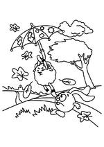 Раскраска - Смешарики - Крош держит Бараша с зонтиком