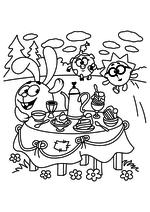 Раскраска - Смешарики - Крош позвал Нюшу и Ёжика на угощенья