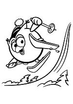 Раскраска - Смешарики - Совунья на горных лыжах