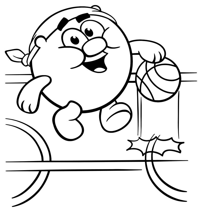 раскраска смешарики копатыч играет в баскетбол Mirchild