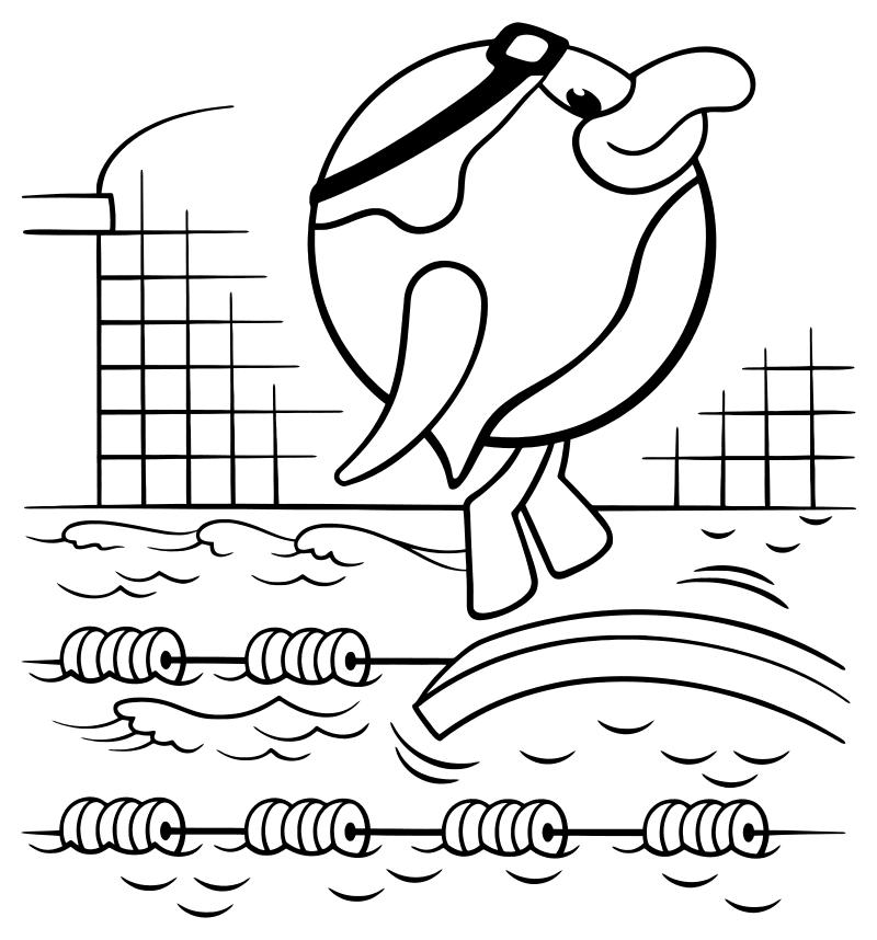 раскраска смешарики пин занимается плаванием Mirchild