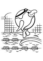 Раскраска - Смешарики - Пин занимается плаванием