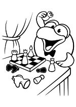 Раскраска - Смешарики - Кар-Карыч играет в шахматы