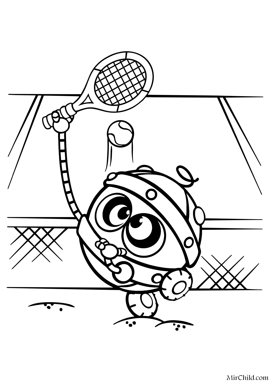 Раскраска - Смешарики - Биби играет в теннис | MirChild