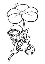 Раскраска - Смурфики: Затерянная деревня - Смурфетта на цветке