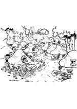 Раскраска - Смурфики: Затерянная деревня - Деревня Смурфиков